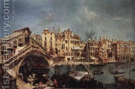 The Rialto Bridge from the Riva del Vin c. 1740 by Michele Marieschi - Reproduction Oil Painting