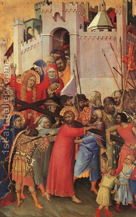 "Orsini Diptych, panel featuring ""The Carrying of the Cross""  1325-35 by Simone Martini - Reproduction Oil Painting"