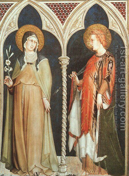 St. Clare and St. Elizabeth of Hungary  1321 by Simone Martini - Reproduction Oil Painting