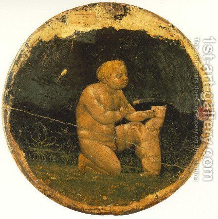 Putto and a Small Dog (back side of the Berlin Tondo) 1427-28 by Masaccio (Tommaso di Giovanni) - Reproduction Oil Painting
