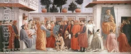 Raising of the Son of Theophilus and St Peter Enthroned 1426-27 by Masaccio (Tommaso di Giovanni) - Reproduction Oil Painting