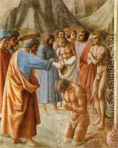 The Baptism of the Neophytes 1426-27 by Masaccio (Tommaso di Giovanni) - Reproduction Oil Painting