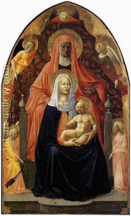 The Madonna and Child with Saint Anne 1424 by Masaccio (Tommaso di Giovanni) - Reproduction Oil Painting