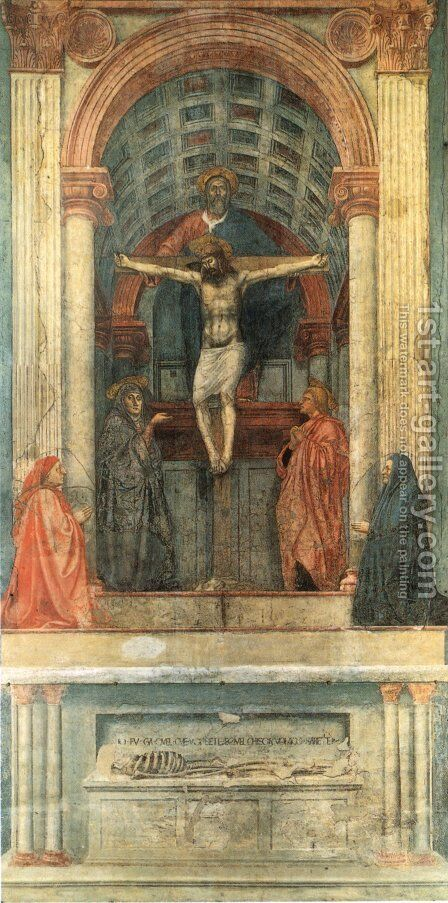Trinity 1425-28 by Masaccio (Tommaso di Giovanni) - Reproduction Oil Painting