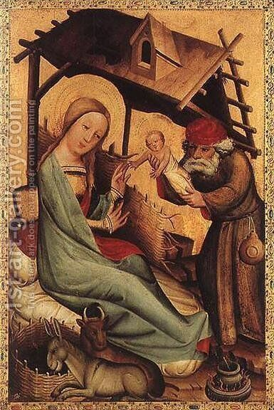 Nativity, panel from Grabow Altarpiece 1383 by (Master of Minden) Bertram - Reproduction Oil Painting