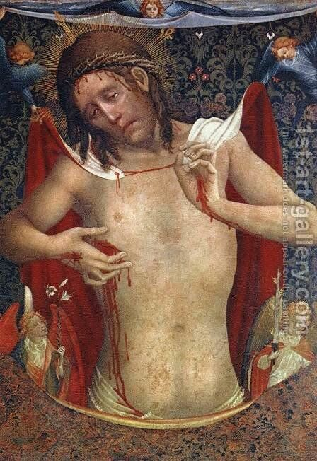 Vir Dolorum (Man of Sorrows) c. 1430 by Master Francke - Reproduction Oil Painting
