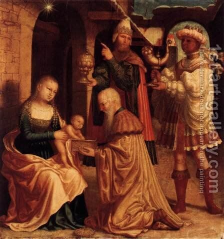 The Adoration of the Magi c. 1530 by Master M Z - Reproduction Oil Painting