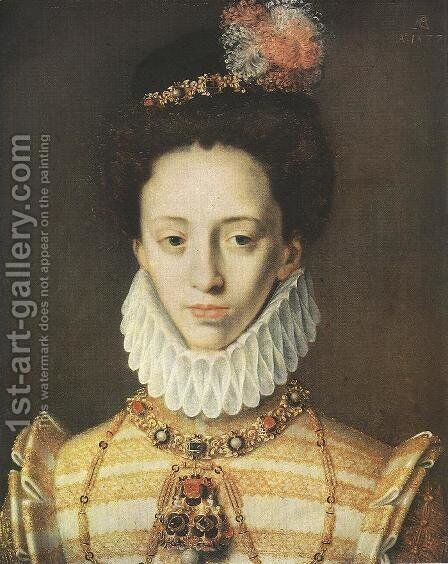 Portrait of Julich, Princess of Cleve and Berg 1577 by Master of AC Monogram - Reproduction Oil Painting
