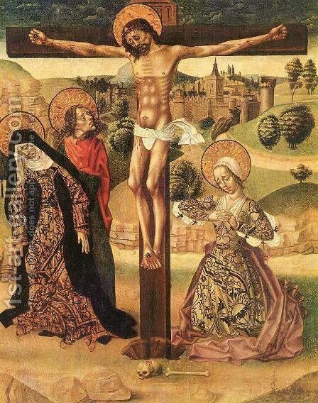 Crucifixion c. 1500 by Master of Budapest - Reproduction Oil Painting