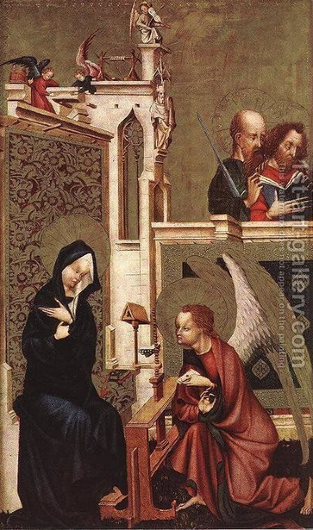 Annunciation c. 1410 by Master of Heiligenkreuz - Reproduction Oil Painting
