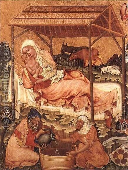 Nativity c. 1350 by Master of Hohenfurth - Reproduction Oil Painting