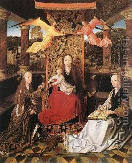 Madonna and Child with Sts Catherine and Barbara by Master of Hoogstraeten - Reproduction Oil Painting