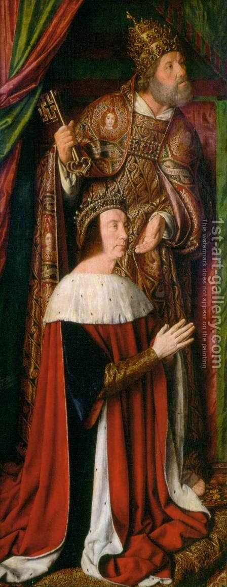 Pierre de Bourbon and his Patron Saint 1498-99 by Master of Moulins  (Jean Hey) - Reproduction Oil Painting