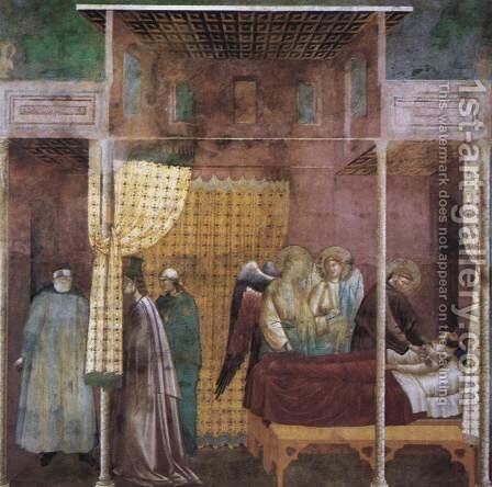 Legend of St Francis- 26. The Healing of a Devotee of the Saint c. 1300 by Master of Saint Cecilia - Reproduction Oil Painting