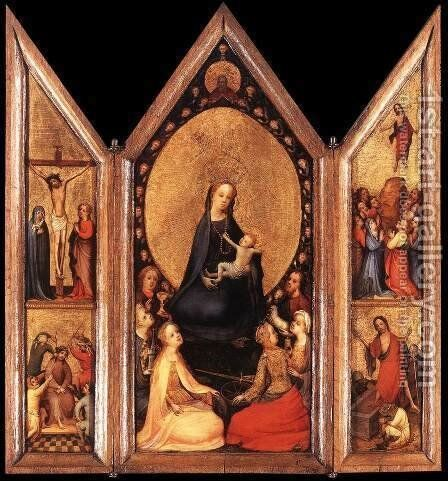 Triptych (open) c. 1410 by Master of Saint Veronica - Reproduction Oil Painting