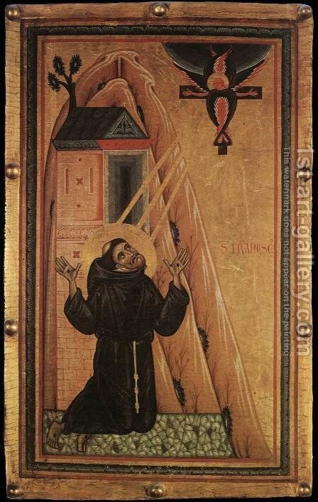 St Francis Receiving the Stigmata 1240-50 by Master of San Francesco Bardi - Reproduction Oil Painting