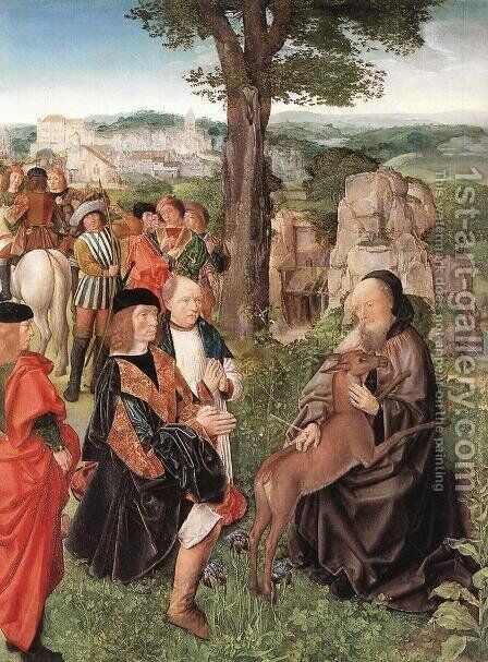 St Gilles and the Hind c. 1500 by Master of St. Gilles - Reproduction Oil Painting