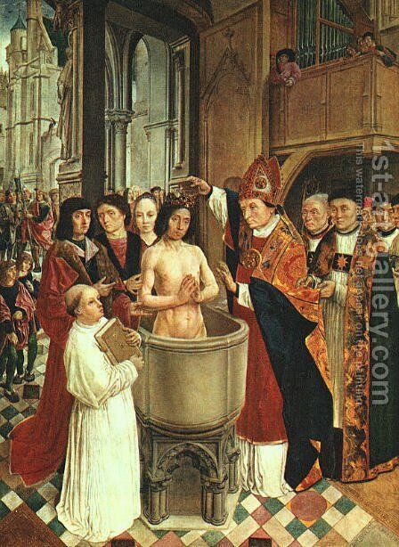 The Baptism of Clovis 1500 by Master of St. Gilles - Reproduction Oil Painting