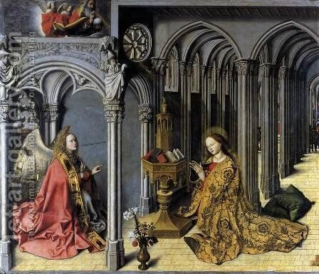 Annunciation c. 1445 by Master of the Aix Annunciation - Reproduction Oil Painting