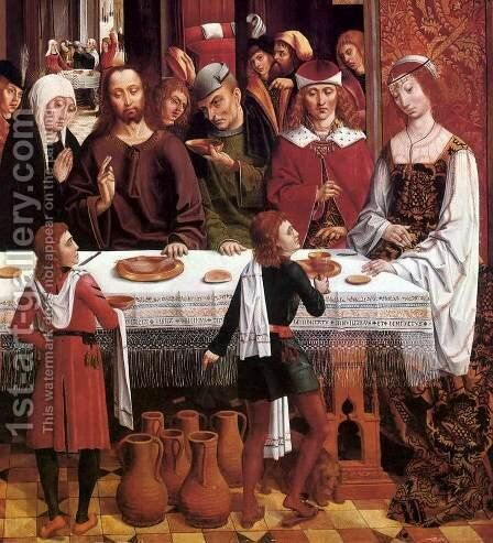 The Marriage at Cana (detail) c. 1495-1497 by Master of the Catholic Kings - Reproduction Oil Painting