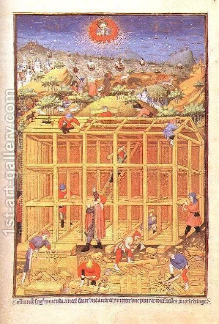 Building of the Ark c. 1423 by Master of the Duke of Bedford - Reproduction Oil Painting
