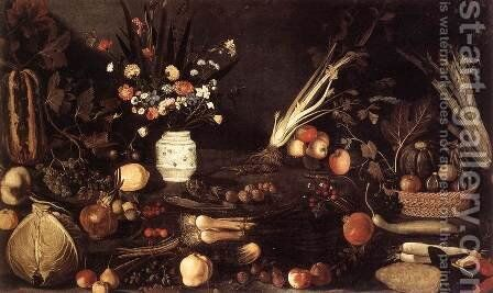 Flowers, Fruit, Vegetables and Two Lizards  1607 by Master of the Hartford Still-life - Reproduction Oil Painting