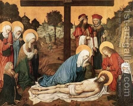 The Lamentation of Christ 1480-85 by Master of the Housebook - Reproduction Oil Painting