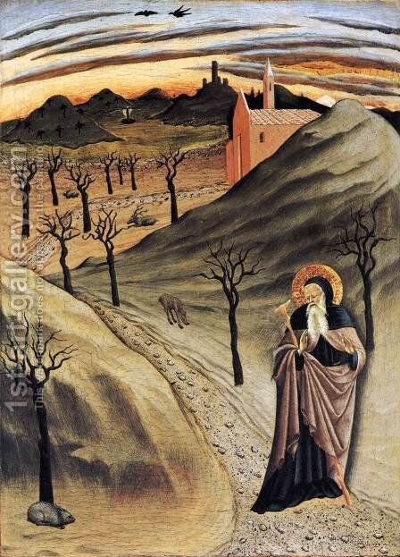 St Anthony Tempted by Gold c. 1440 by Master of the Osservanza - Reproduction Oil Painting