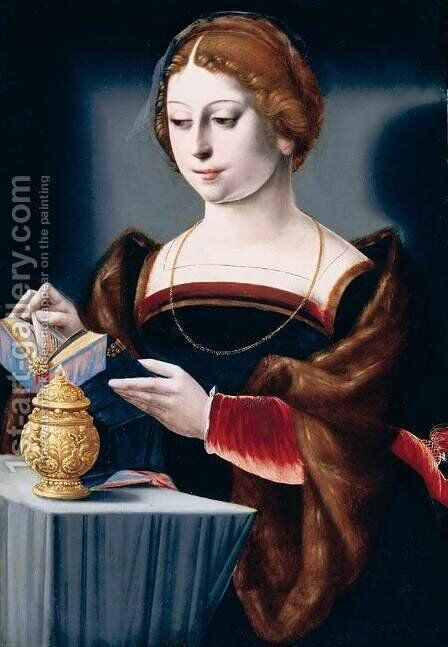 Mary Magdalen (2)  1525-50 by Master of the Parrot - Reproduction Oil Painting