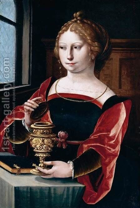 Mary Magdalen (1) 1525-50 by Master of the Parrot - Reproduction Oil Painting