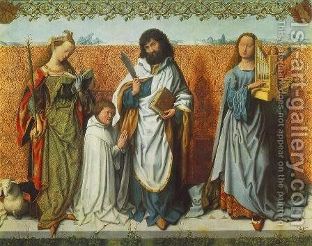 St Agnes, St Bartholomew and St Cecilia by Master of the St. Bartholomew Altarpiece - Reproduction Oil Painting