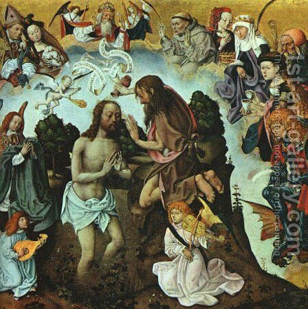 The Baptism of Christ 1500 by Master of the St. Bartholomew Altarpiece - Reproduction Oil Painting