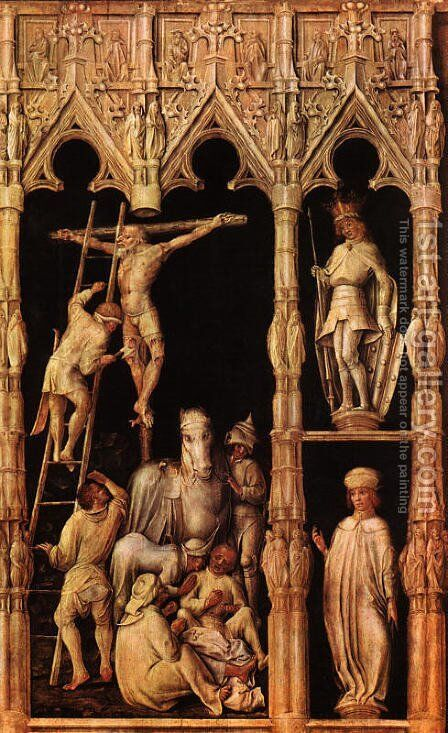 Crucifixion (detail from right side)  1440-45 by Master of the Tegernsee Passion - Reproduction Oil Painting