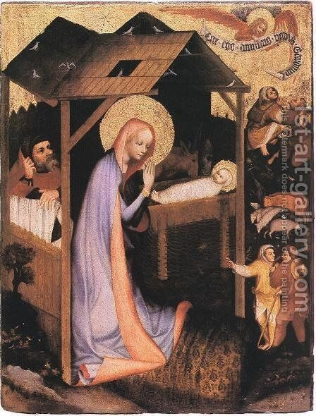 The Adoration of Jesus  1380 by Master of the Trebon Altarpiece - Reproduction Oil Painting