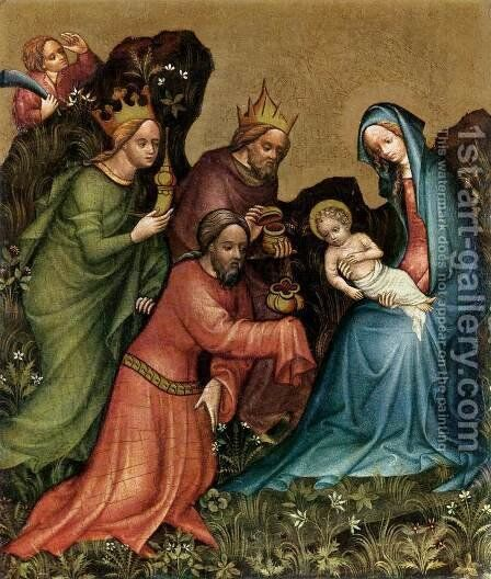 Adoration c. 1410 by Master of the Vienna Adoration - Reproduction Oil Painting