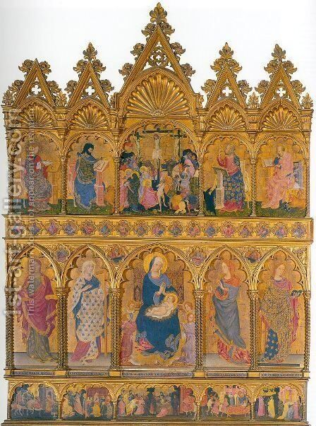 Polyptych from the Church of Sant'Elena  1427 by Michele di Matteo - Reproduction Oil Painting