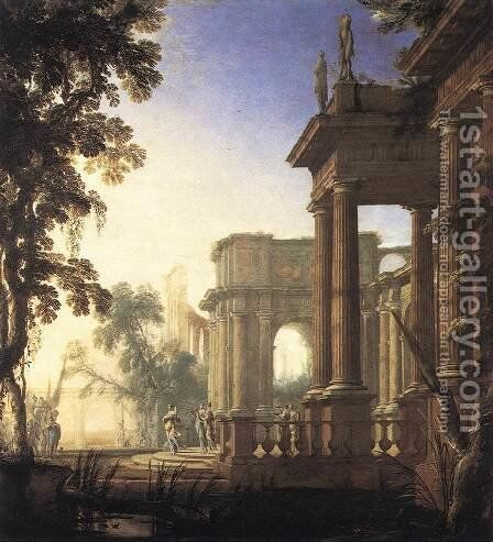 Landscape with Jephthah and his Daughter by Henri Mauperche - Reproduction Oil Painting