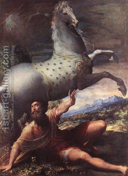 The Conversion of St Paul by Girolamo Francesco Maria Mazzola (Parmigianino) - Reproduction Oil Painting