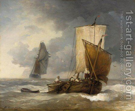 Fishing Boats in Stormy Seas (Fischkutter auf stürmischer See) by Andreas Achenbach - Reproduction Oil Painting