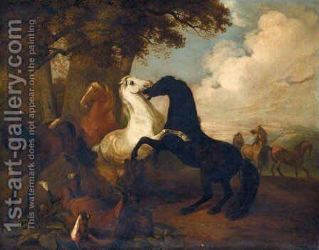 Thoroughbreds at Play 1816 by Adam Albrecht - Reproduction Oil Painting