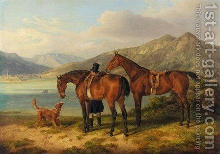 Rider and Two Bays by a Lake (Reiter und zwei Pferde am See 1834) by Adam Albrecht - Reproduction Oil Painting