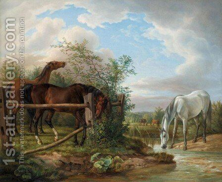 Thoroughbreds in a Paddock (Vollbluter auf der Koppel) by Adam Albrecht - Reproduction Oil Painting