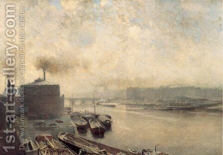 British Gas Works on the River Spree by Adolf von Meckel - Reproduction Oil Painting