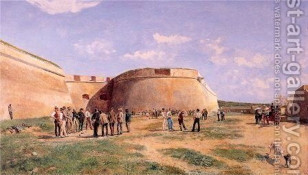 Playing Bowls in the Fosse at Antibes 1885 by Jean-Louis-Ernest Meissonier - Reproduction Oil Painting