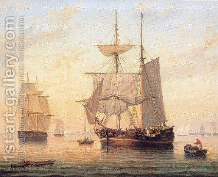 Taking in Sails at Sunset by Mary Blood Mellen - Reproduction Oil Painting