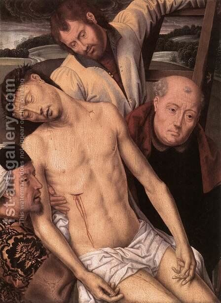 Deposition (left wing of a diptych) 1490s by Hans Memling - Reproduction Oil Painting
