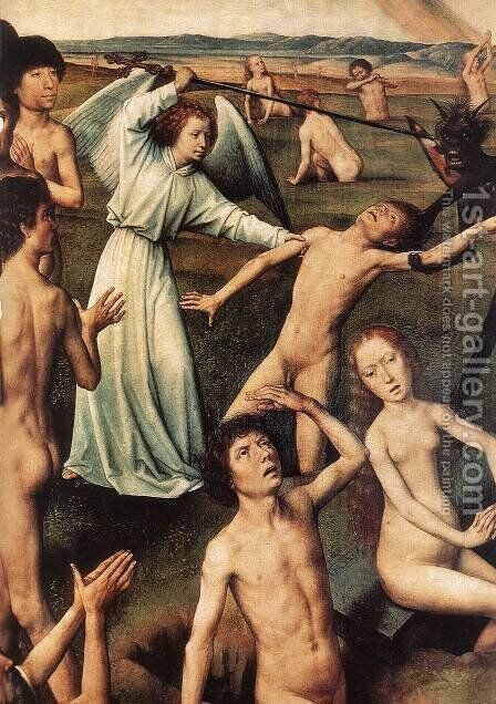 Last Judgment Triptych (detail-6) 1467-71 by Hans Memling - Reproduction Oil Painting