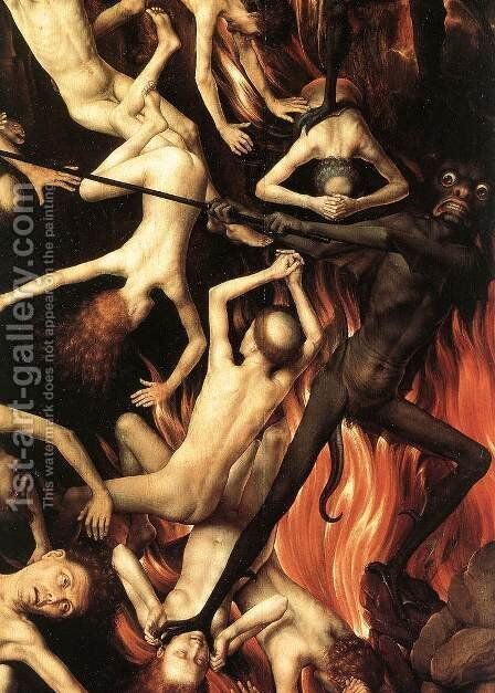 Last Judgment Triptych (detail-8) 1467-71 by Hans Memling - Reproduction Oil Painting