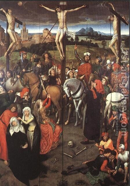 Passion (Greverade) Altarpiece (central panel) 1491 by Hans Memling - Reproduction Oil Painting