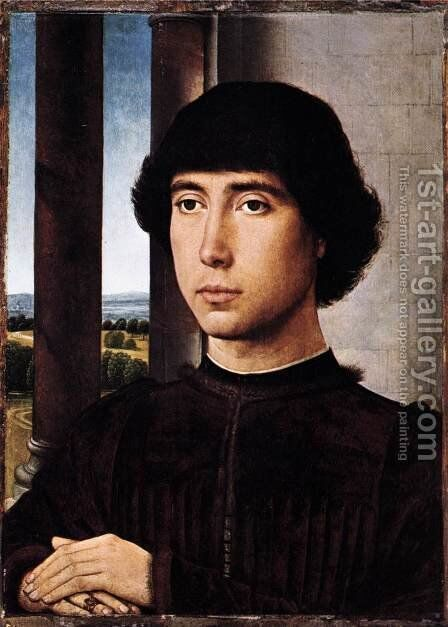 Portrait of a Man at a Loggia c. 1480 by Hans Memling - Reproduction Oil Painting